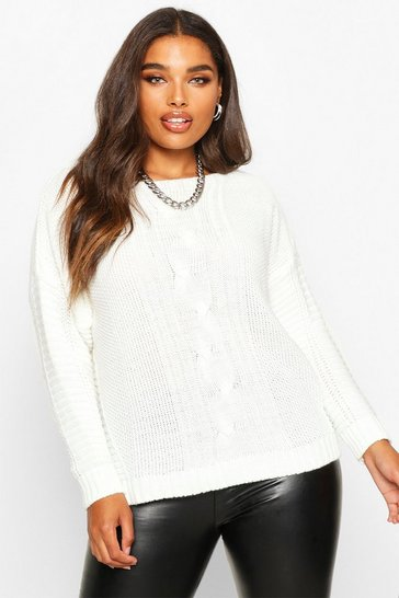 Ivory Plus Cable Knit Slash Neck Jumper