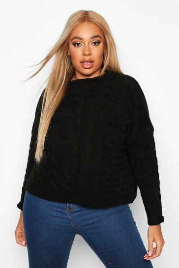 Black Plus High Neck Cable Jumper