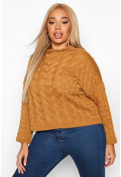 Womens Mustard Plus High Neck Cable Jumper