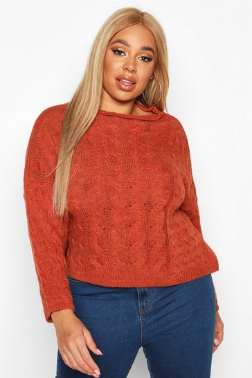 Womens Rust Plus High Neck Cable Jumper