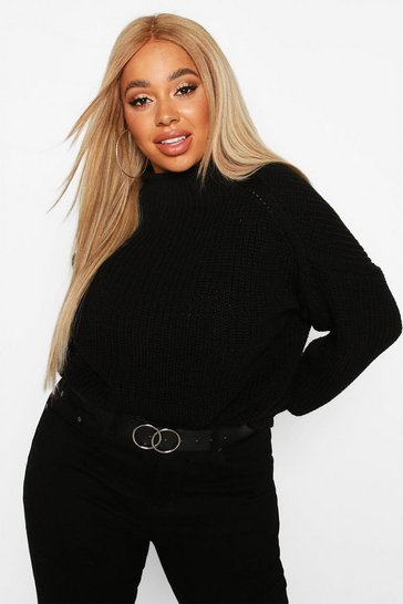 Black Plus High Neck Batwing Chunky Knit Jumper