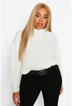 Ivory Plus High Neck Batwing Chunky Knit Jumper