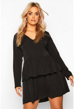Womens Black Plus Plunge Double Ruffle Smock Dress