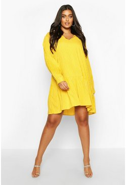 Mustard Plus Stripe Tie Neck Tiered Smock Dress