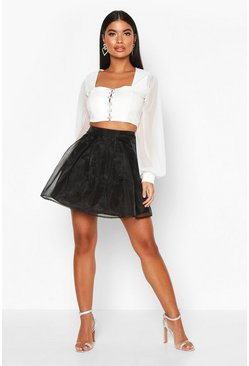 Womens Black Petite Organza Skater Skirt