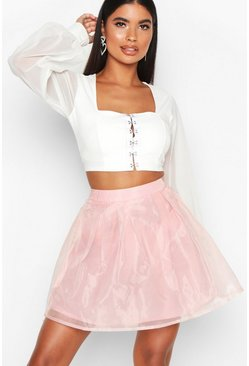 Gonna skater in organza Petite, Pink, Femmina