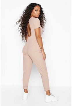Dam Stone Petite Open Back Ribbed Jumpsuit