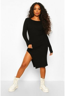 Womens Black Petite Split Hem Rib Knit Jumper Midi Dress