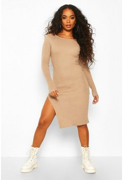 Stone Petite Split Hem Rib Knit Jumper Midi Dress