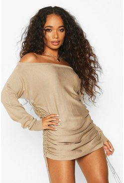 Womens Stone Petite Ruched Side Off The Shoulder Jumper Dress