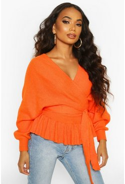 Orange Petite Wrap Tie Waist Peplum Knitted Jumper