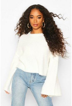 Womens Cream Petite Flare Sleeve Cropped Rib Knit Jumper