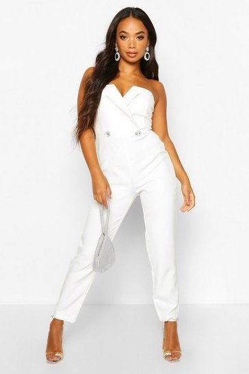 Womens White Petite Diamante Trim Strapless Tailored Jumpsuit