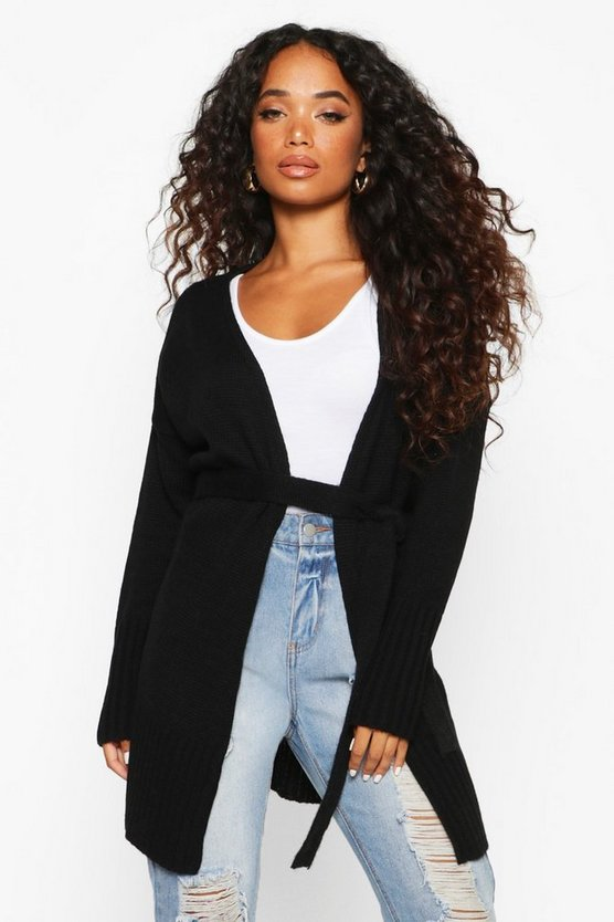 Petite Self Belted Long Line Knit Cardigan