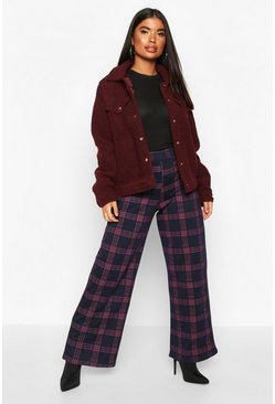 Womens Navy Petite Tartan Check Wide Leg Trousers