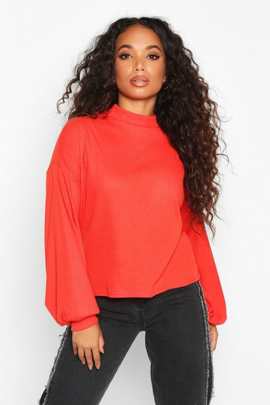 Petite Knitted Rib Extreme Volume Sleeve Top