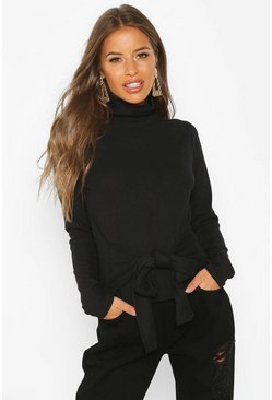 Womens Black Petite Knitted Rib Roll Neck Tie Front Jumper