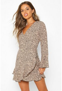 Tan Petite Leopard Print Wrap Skater Dress