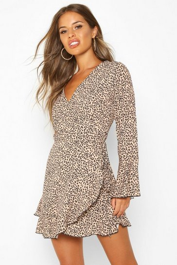 Womens Tan Petite Leopard Print Wrap Skater Dress