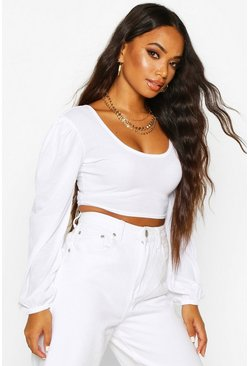 Womens White Petite Square Neck Ribbed Balloon Sleeve Top