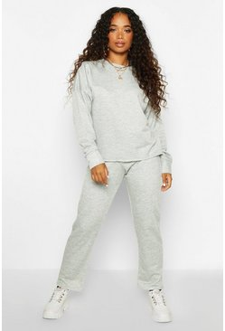 Womens Grey Petite Straight Leg Jogger & Sweat Lounge Set