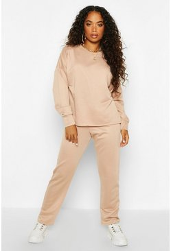 Womens Stone Petite Straight Leg Jogger & Sweat Lounge Set
