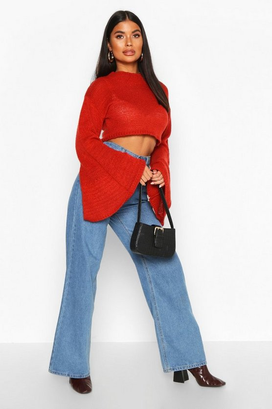 Petite Super Soft Flare Sleeve Knitted Jumper by Boohoo