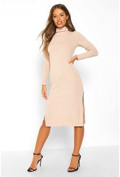 Womens Nude Petite Rib Roll Neck Split Hem Midi Dress
