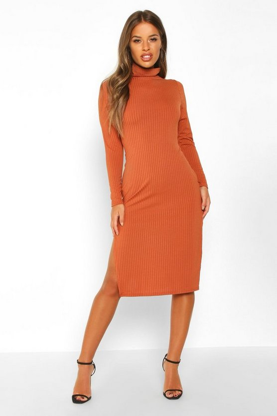 Womens Rust Petite Rib Roll Neck Split Hem Midi Dress