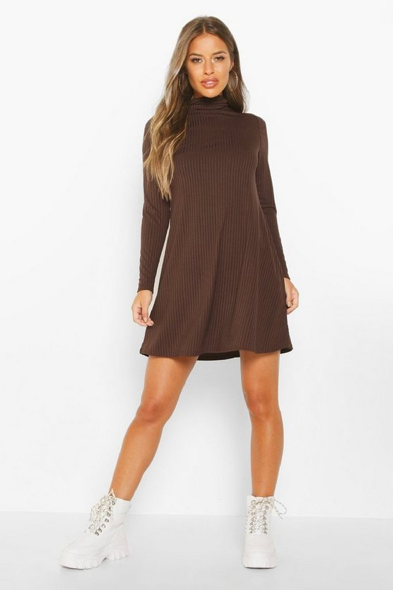 Womens Chocolate Petite Rib Roll Neck Long Sleeve Swing Dress