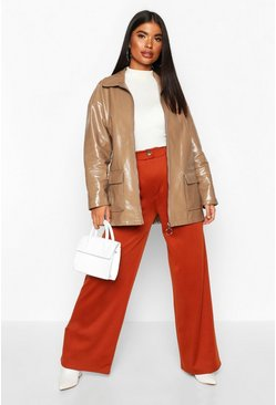 Womens Rust Petite Button Up Ponte Wide Leg Trousers