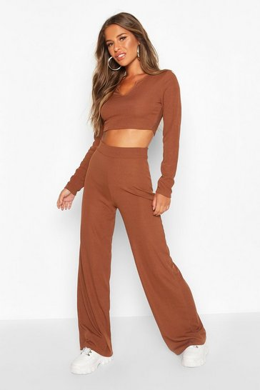 Womens Chocolate Petite Notch Neck Top & Wide Leg Trouser Co-Ord