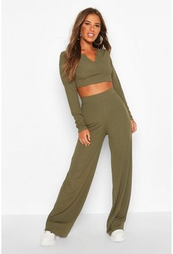 Womens Khaki Petite Notch Neck Top & Wide Leg Trouser Co-Ord