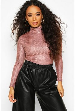 Dam Rose gold Petite Rib Shimmer Knitted Turtle Neck Bodysuit
