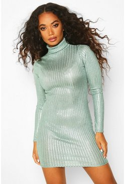 Womens Khaki Petite Rib Shimmer Knitted Turtle Neck Dress
