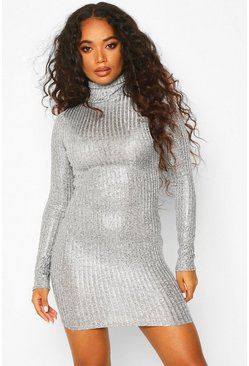 Womens Silver Petite Rib Shimmer Knitted Turtle Neck Dress