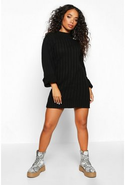 Black Petite Rib Knit Turtle Neck Jumper Dress