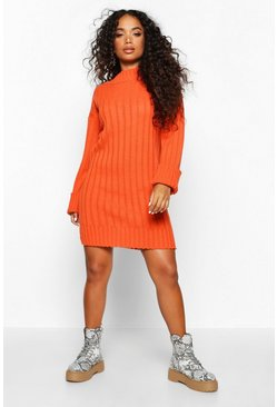 Brick Petite Rib Knit Turtle Neck Jumper Dress