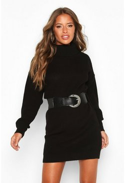 Womens Black Petite Belted Roll Neck Rib Jumper Dress