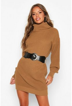 Camel Petite Belted Roll Neck Rib Jumper Dress