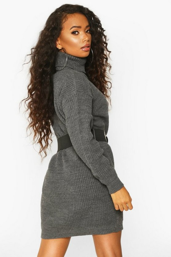 Petite Belted Roll Neck Rib Jumper Dress