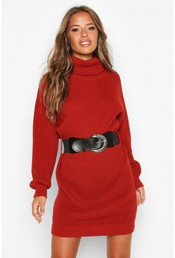 Rust Petite Belted Roll Neck Rib Jumper Dress