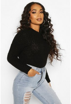 Black Petite Premium Soft Fisherman Knit Jumper
