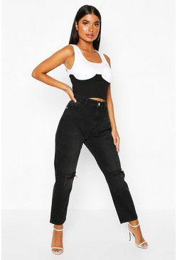 Womens Petite Distressed Black Wash Straight Leg Jeans