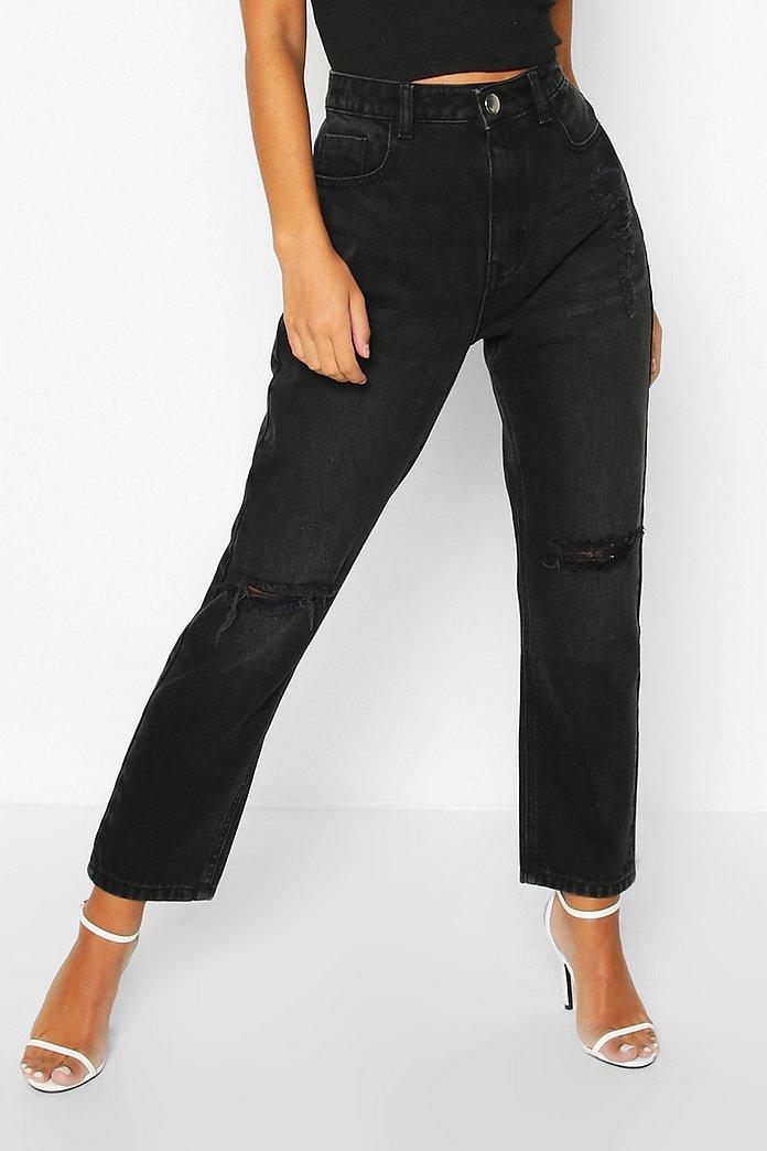 Petite Schwarze, ausgewaschene Jeans mit geradem Bein und Destroyed Look | boohoo
