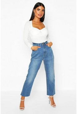 Womens Blue Petite Mid Wash Raw Hem Mom Jeans