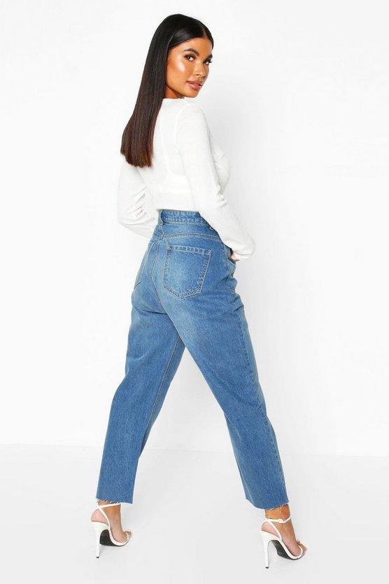 Petite Mid Wash Raw Hem Mom Jeans