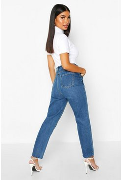 Blue Petite Distressed Mid Wash Raw Hem Mom Jeans