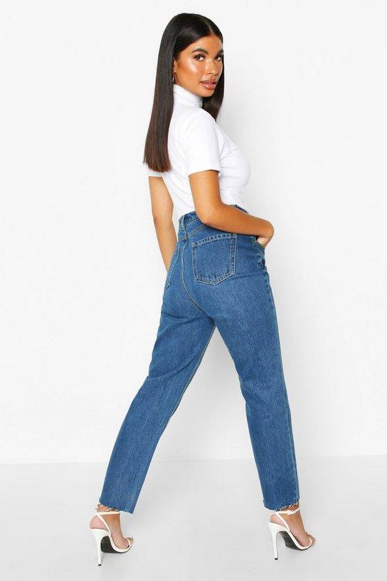 Petite Distressed Mid Wash Raw Hem Mom Jeans