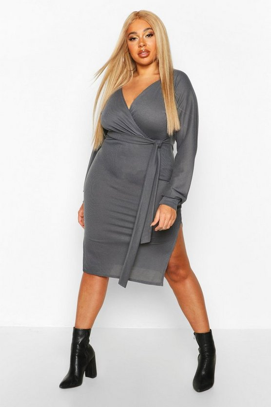 Plus Soft Rib Belted Wrap Midi Dress